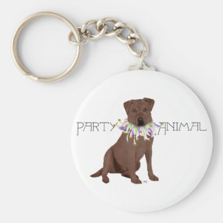 Brown Party Animal Labrador Retriever Basic Round Button Key Ring