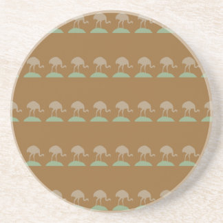 Brown Pattern with Birds. Drink Coaster