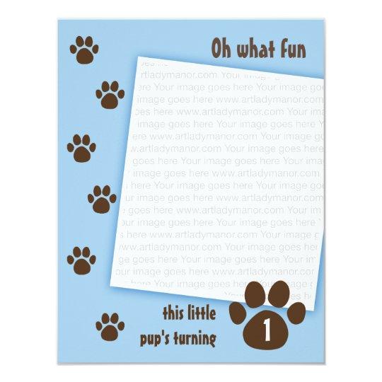 Brown Paw Print on Blue Birthday 11 Cm X 14 Cm Invitation Card