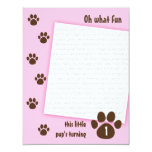 Brown Paw Print on Pink Birthday Personalised Announcements