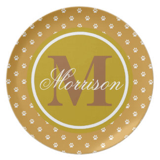 Brown Paw Prints Monogram Party Plates