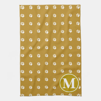 Brown Paws Monogram Hand Towels