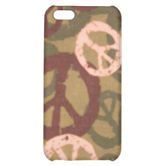 Brown Peace Sign/Camo Look iphone case Case For iPhone 5C