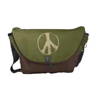 Brown Peace Sign Commuter Bags