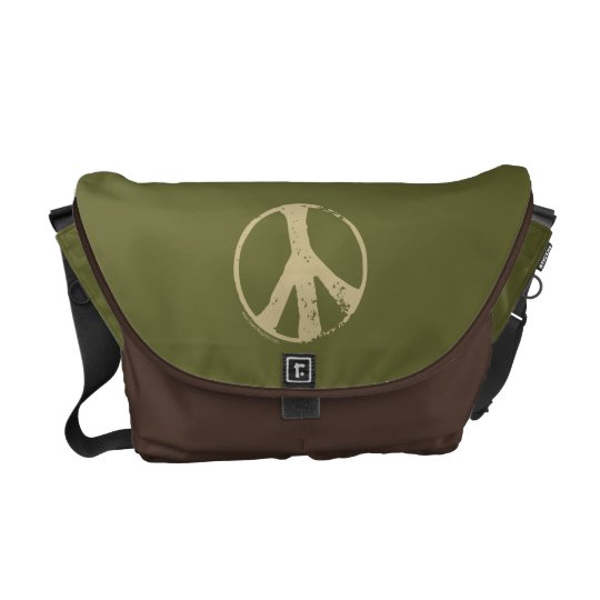 Brown Peace Sign Courier Bag