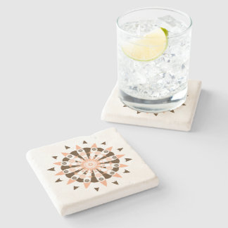 Brown Peach And White Geometric Flower Pattern Stone Coaster