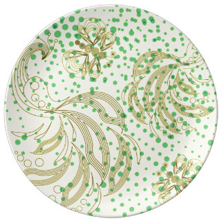Brown peacocks and butterflies with halftones porcelain plate