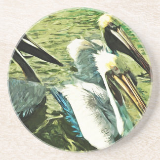 Brown Pelican in Winter Colors Abstract Beverage Coaster