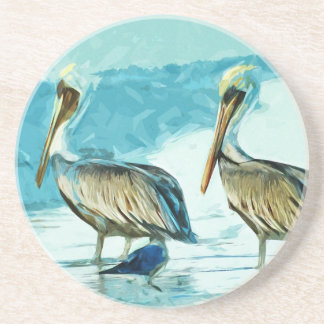 Brown Pelican in Winter Colors Abstract Coasters