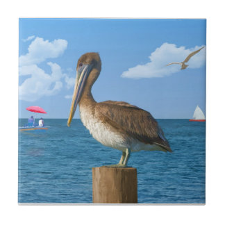 Brown Pelican on a Post Tile