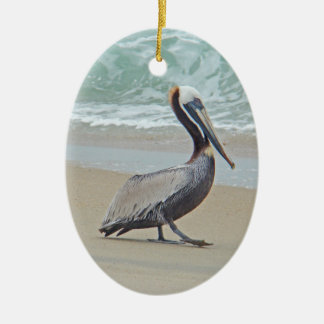 Brown Pelican on Beach Christmas Ornament