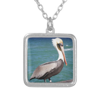 Brown Pelican Silver Plated Necklace