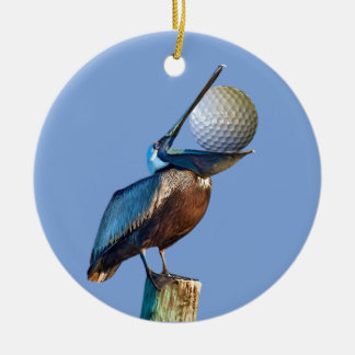 Brown Pelican with Golf Ball Christmas Ornament