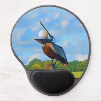 Brown Pelican with Golf Ball Customizable Gel Mouse Mat