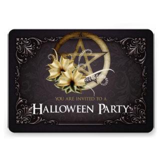Brown Pentagram Halloween Party Invitation 1