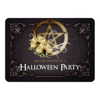 Brown Pentagram Halloween Party Invitation 1