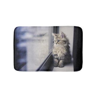 Brown Persian Kitten Looking Out Window Bath Mat
