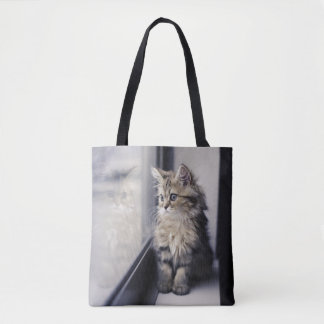 Brown Persian Kitten Looking Out Window Tote Bag