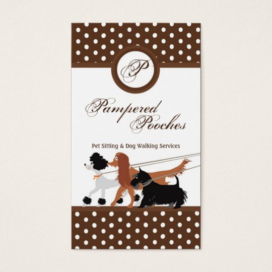 Brown Pet Sitting Dog Walking Walker Business Card