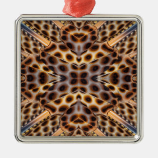 Brown pheasant feather kaleidoscope christmas ornament