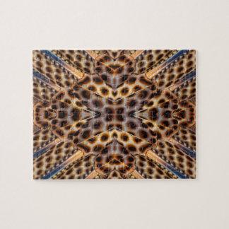 Brown pheasant feather kaleidoscope jigsaw puzzle