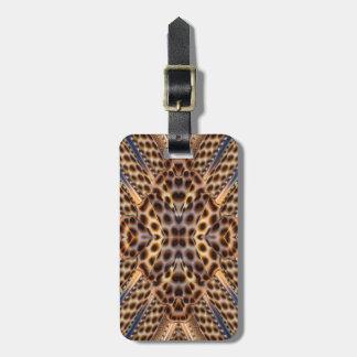 Brown pheasant feather kaleidoscope luggage tag