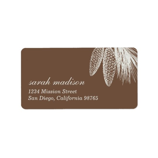 Brown pine cones Christmas holiday return address Label