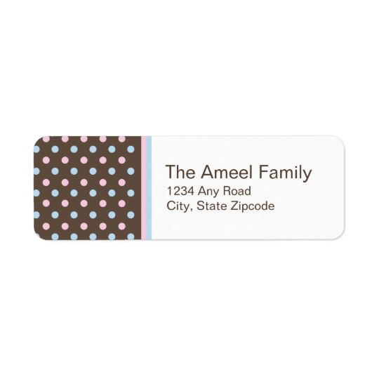Brown, Pink and Blue Return Address Label