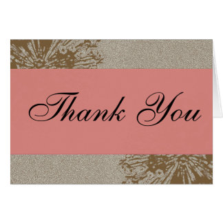 Brown & Pink Blossom Thank You Greeting Card