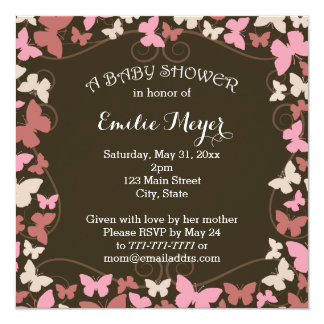 Brown Pink Butterflies Baby Shower Invitation