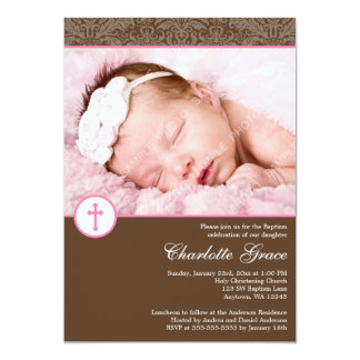 Brown Pink Damask Cross Girl Photo Baptism Announcements