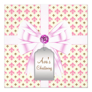 Brown Pink Fleur de Lis Baby Christening Card