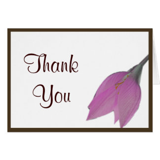 Brown & Pink Flower Thank You Note Greeting Card
