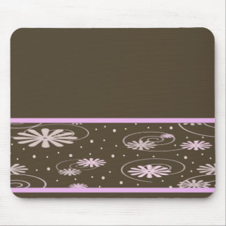 brown pink flowers and dots mouse pad