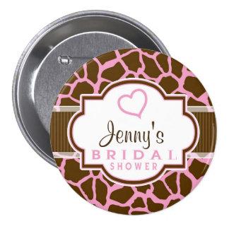 Brown, Pink Giraffe Animal Print Bridal Shower 7.5 Cm Round Badge