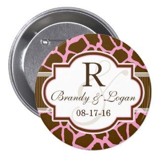Brown, Pink Giraffe Animal Print Wedding 7.5 Cm Round Badge