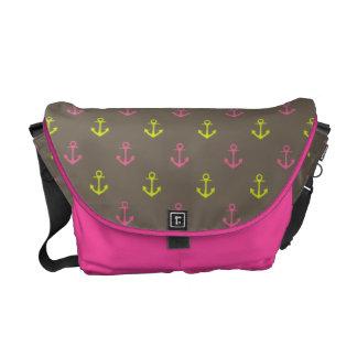 Brown, Pink Green Nautical Anchors Pattern Messenger Bag