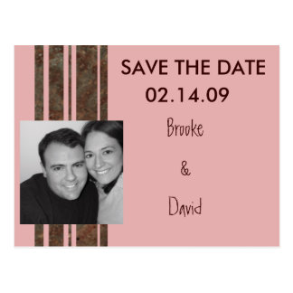 Brown & Pink Photo Save the Date Post Card