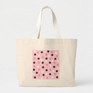 Brown & Pink Polka Dots Jumbo Tote Bag