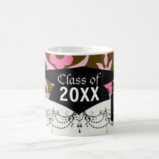 brown pink spring flowers damask graduation basic white mug