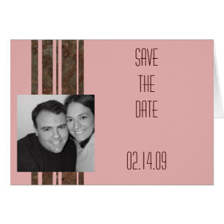Brown & Pink Stripe Photo Save the Date Greeting Card