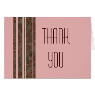 Brown & Pink Stripe Thank You Note Greeting Card