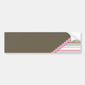 Brown & Pink Stripes Bumper Sticker