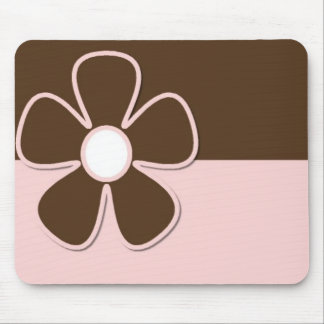 Brown & Pink with Daisy Flower Mousepad