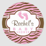 Brown, Pink Zebra Stripes Animal Print Baby Shower
