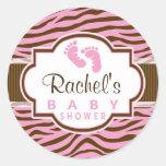 Brown, Pink Zebra Stripes Animal Print Baby Shower Round Sticker
