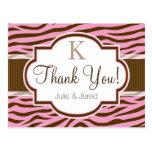 Brown, Pink Zebra Stripes Animal Print Thank You Postcard