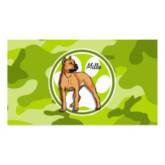 Brown Pit Bull bright green camo camouflage Business Card Template