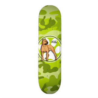 Brown Pit Bull; bright green camo, camouflage Skateboard Deck