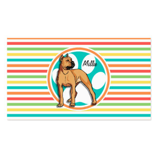 Brown Pit bull Bright Rainbow Stripes Business Card Template